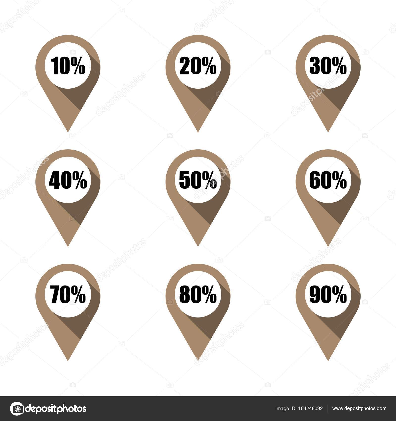 set of brown map pins with different percentage isolated stock