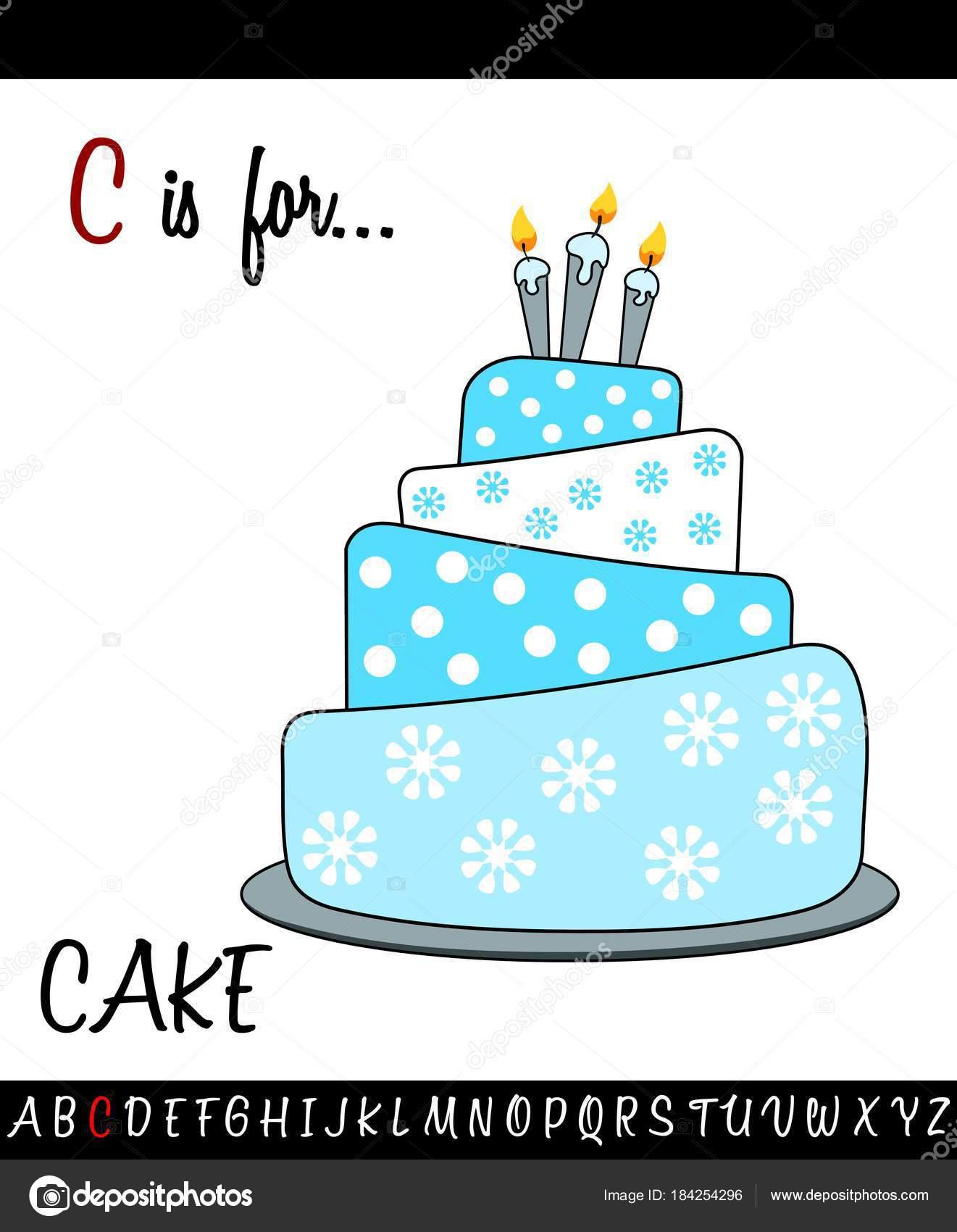 Illustrierte Wortschatz Arbeitsblatt Karte mit Cartoon Kuchen ...