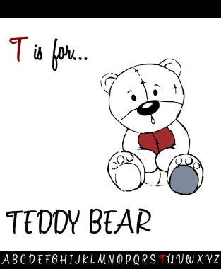 Cartoon Illustration of Capital Letter T with Teddy Bear