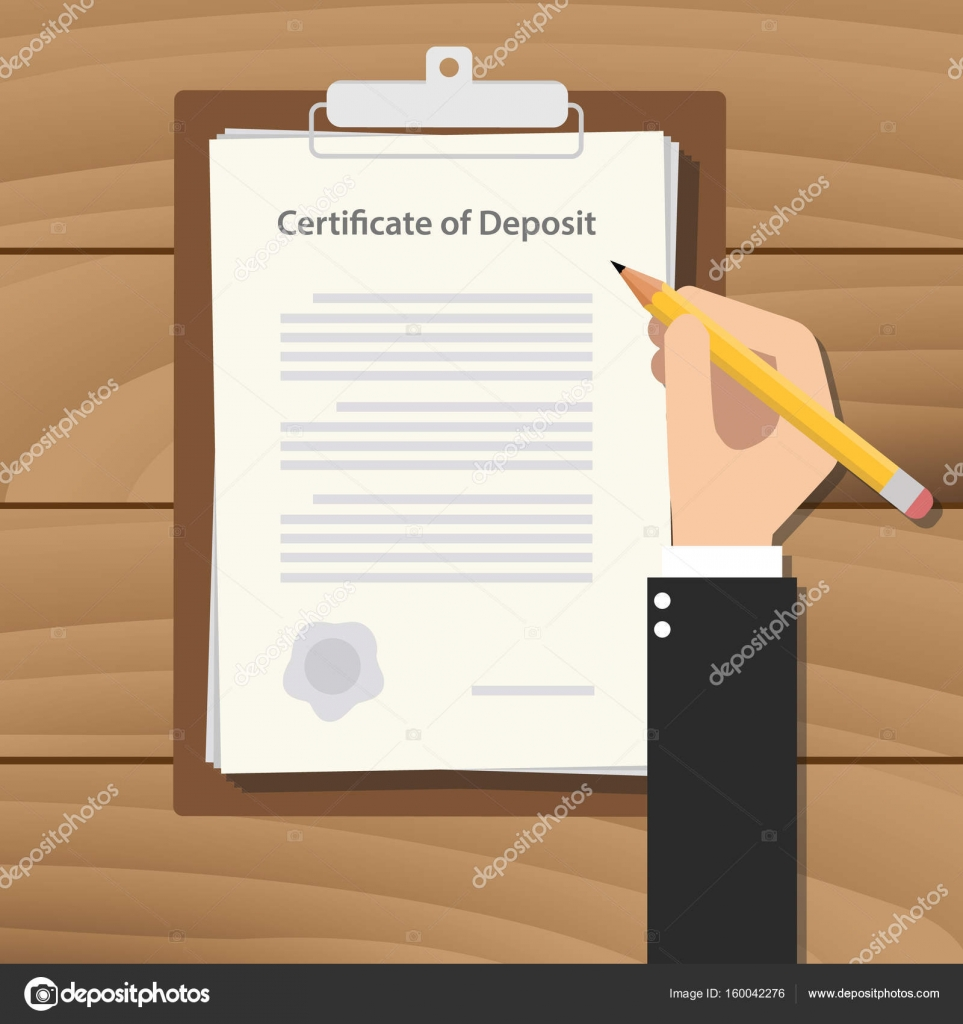 Certificate of deposit illustration concept with hand business man certificate of deposit illustration concept with hand business man signing a paperwork document on top of the table vector vector by ribkhan 1betcityfo Gallery