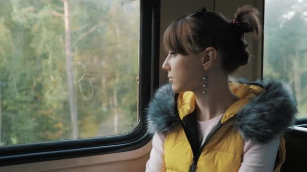 Sad girl on a train