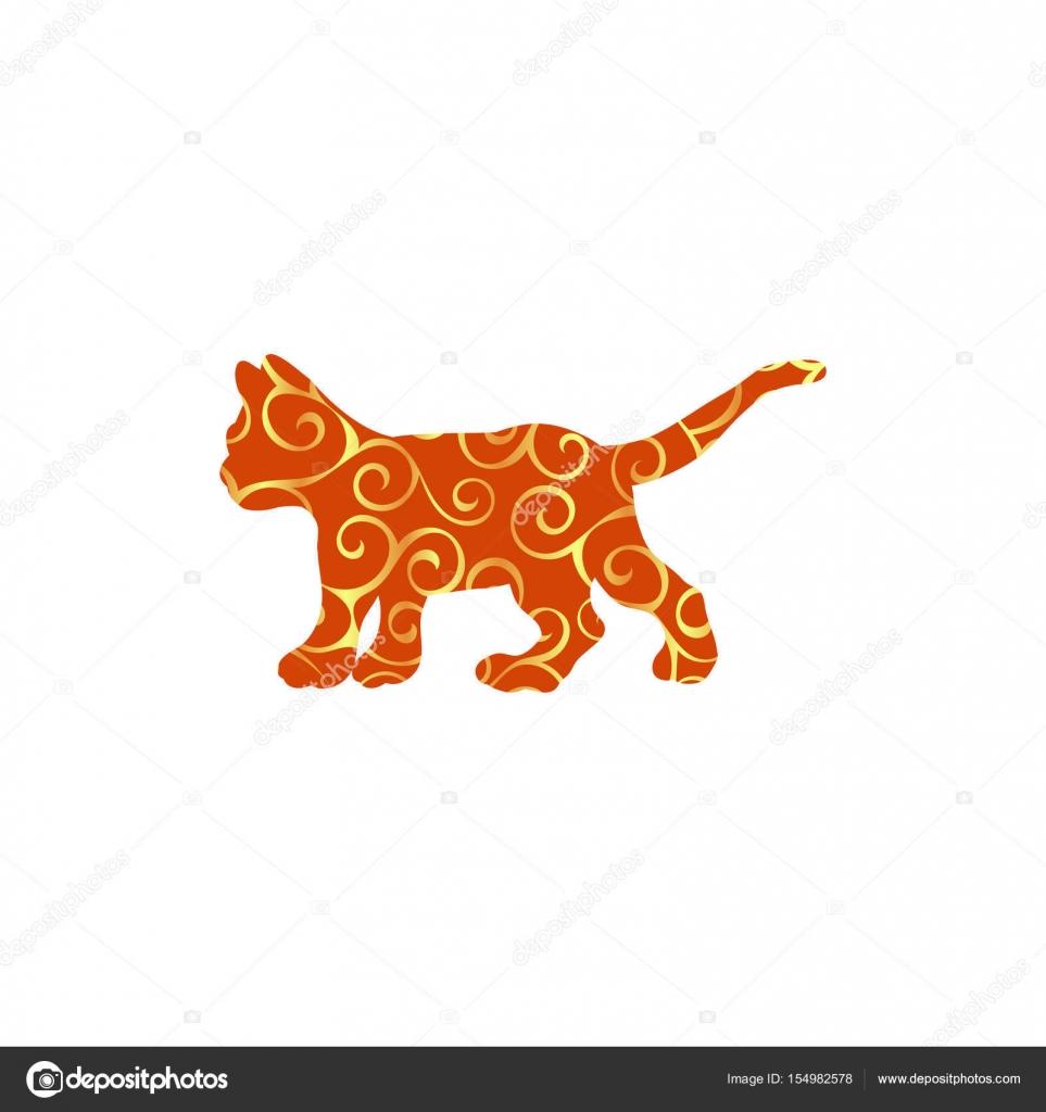 Animal de silueta de gatito gato color del animal doméstico — Vector ...