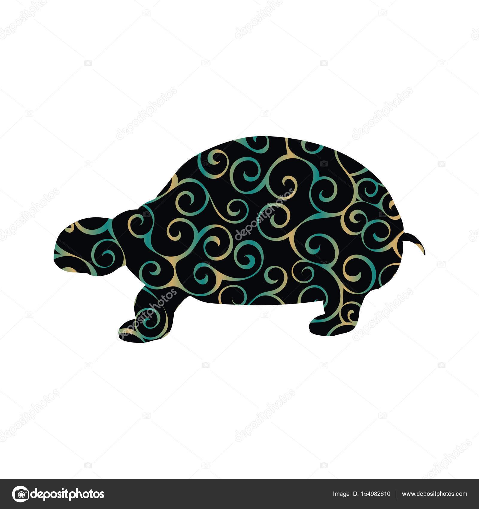 Animal silueta de tierra tortuga reptil color — Archivo Imágenes ...
