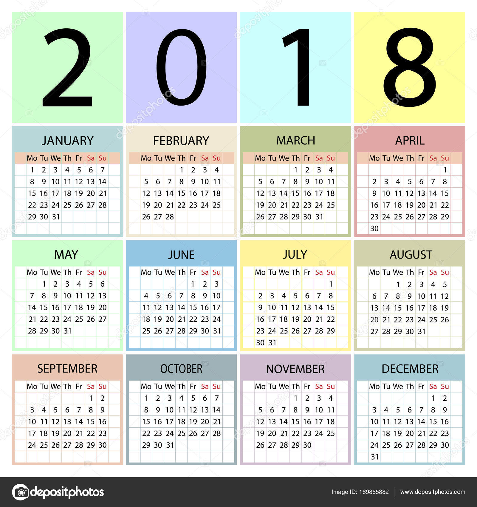 Calendario Con Week 2018.Calendar 2018 Year Week Starts With Monday Stock Vector