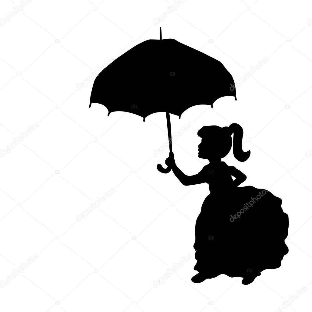 silhouette mädchen regenschirm in den händen halten