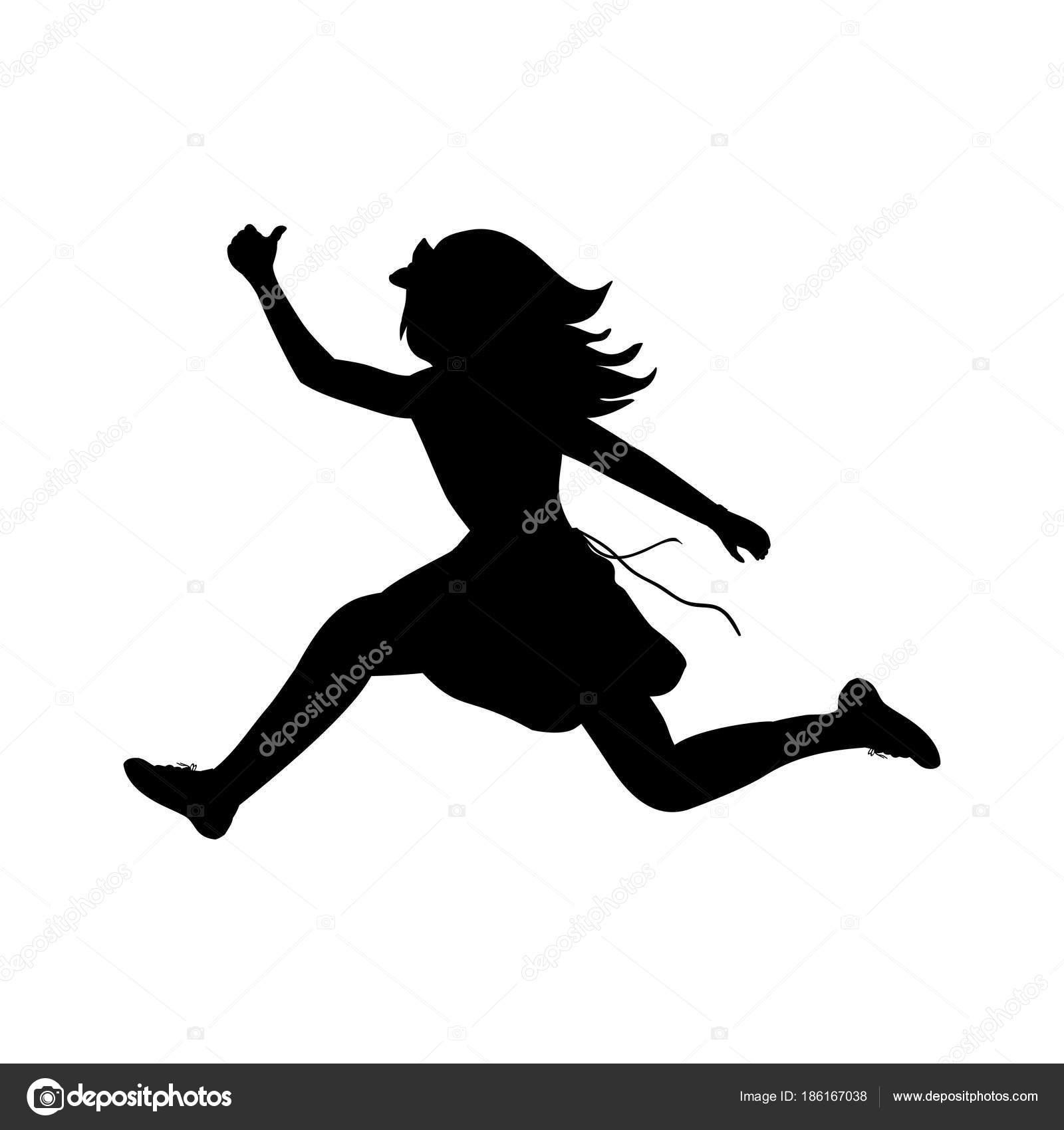 garota feliz silhueta correndo esporte vetores de stock