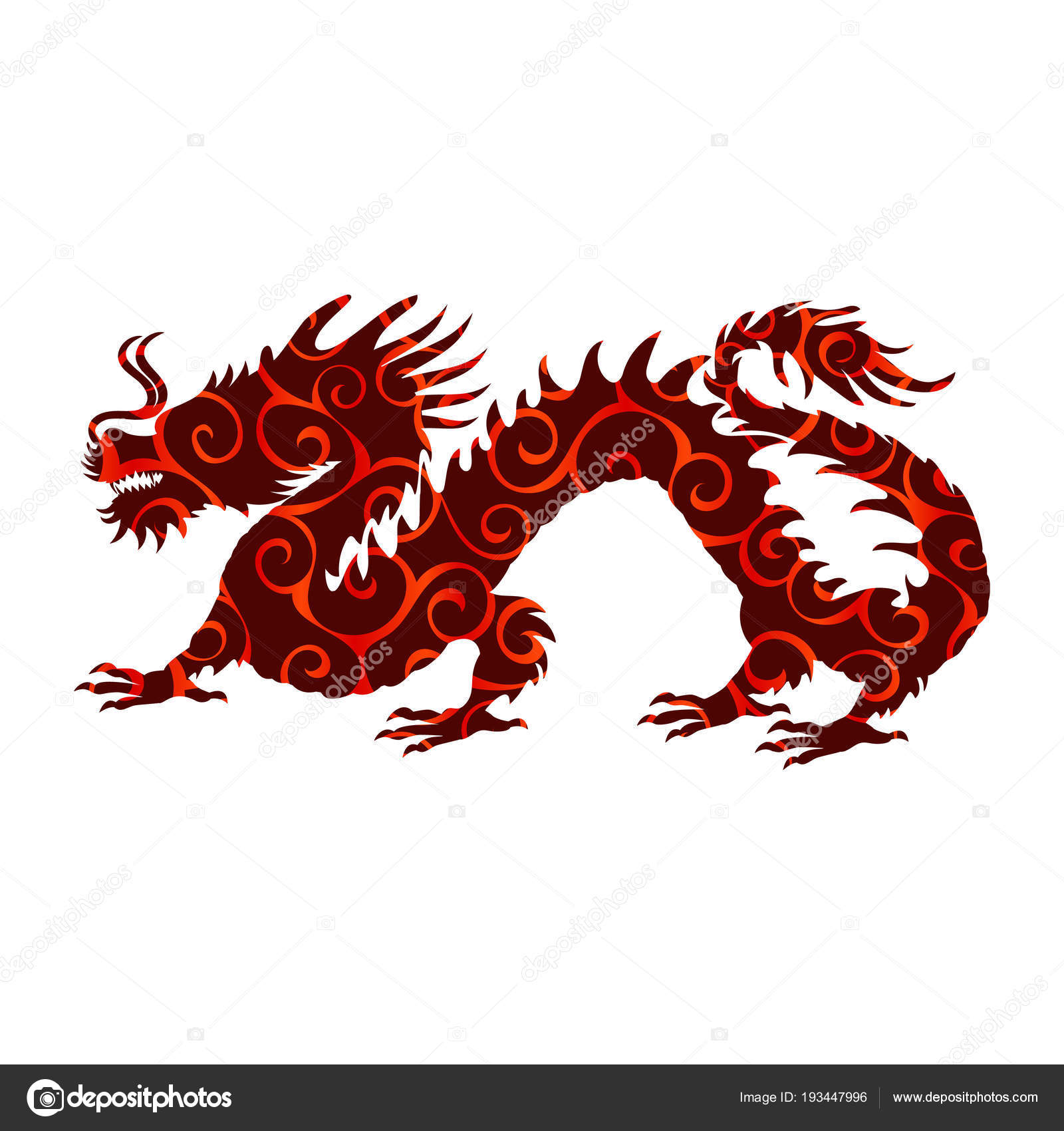 Chinese Dragon Pattern Silhouette Symbol Traditional China Stock