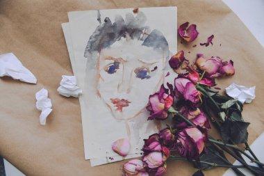 """Картина, постер, плакат, фотообои """"Портрет грустной плачущей женщины с акварелями на бумажном фоне сухо поблекли красные пятна. Психология, депрессивное состояние, антивалентный день, безответная любовь, психотерапия. небольшой шум"""", артикул 363152160"""
