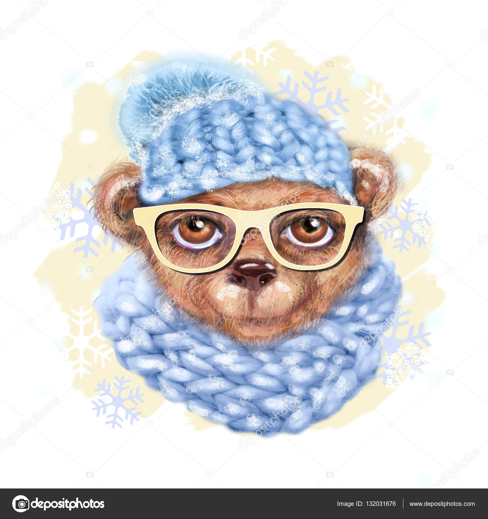 75d9e704b92 Hand drawn portrait of teddy bear with glasses