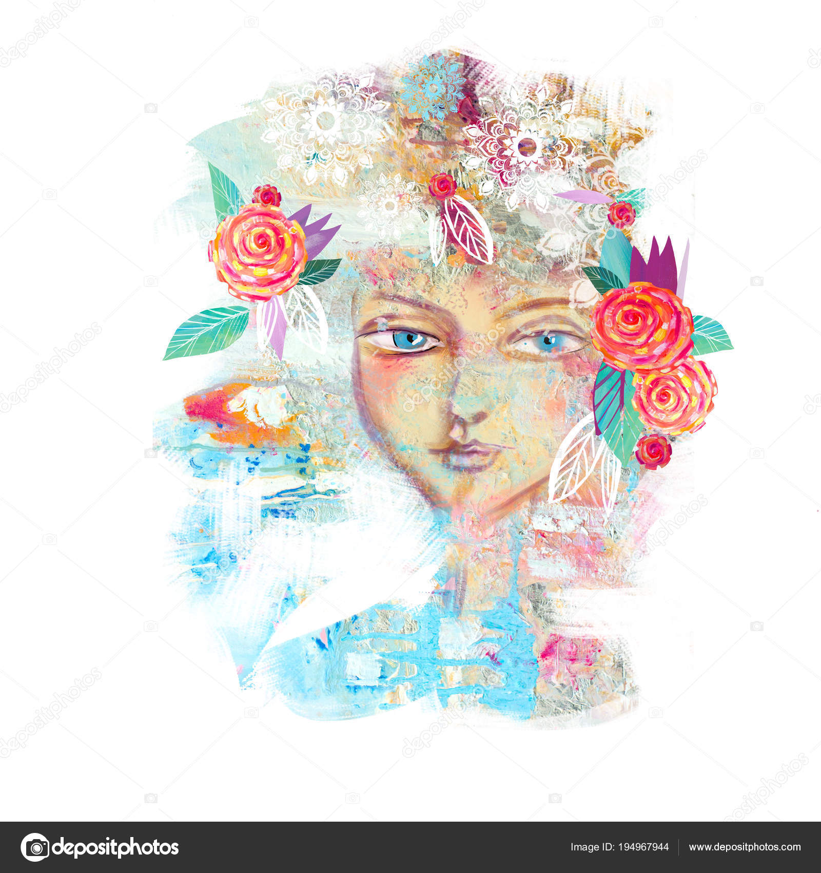 b2eace4f7c Abstract floral spring girl. — Stock Photo © liyavihola  194967944
