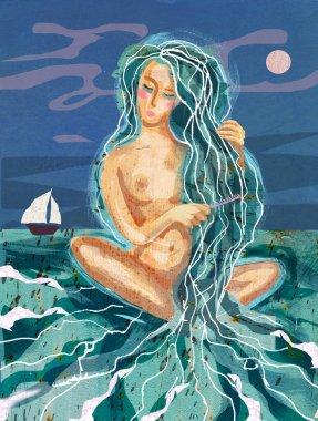 Beautiful girl combs her hair in the sea.