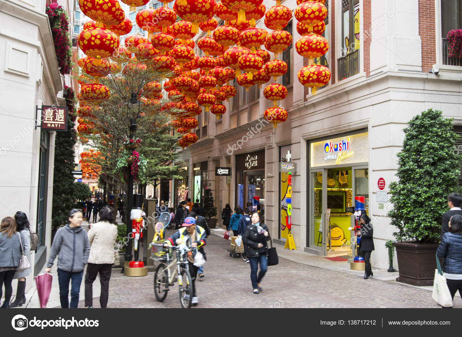 chinese happy new year decorations in hong kong stock photo