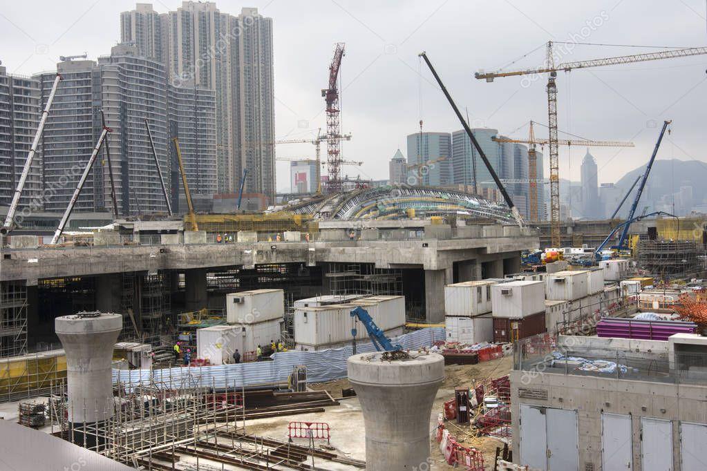 Фотообои Строительная площадка в Гонконге