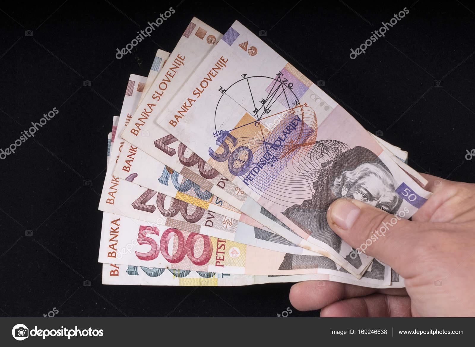 18b590b650 Certains vieux billets de banque slovène — Photo éditoriale ...