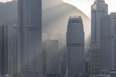 Hong Kong, January 2017. A view of Hong Kong island skyline from the Victoria harbor