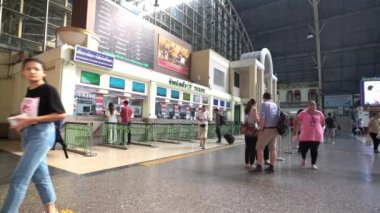 Bangkok, Thailand. January 2018. the ticket office of the Hualamphong Railway station