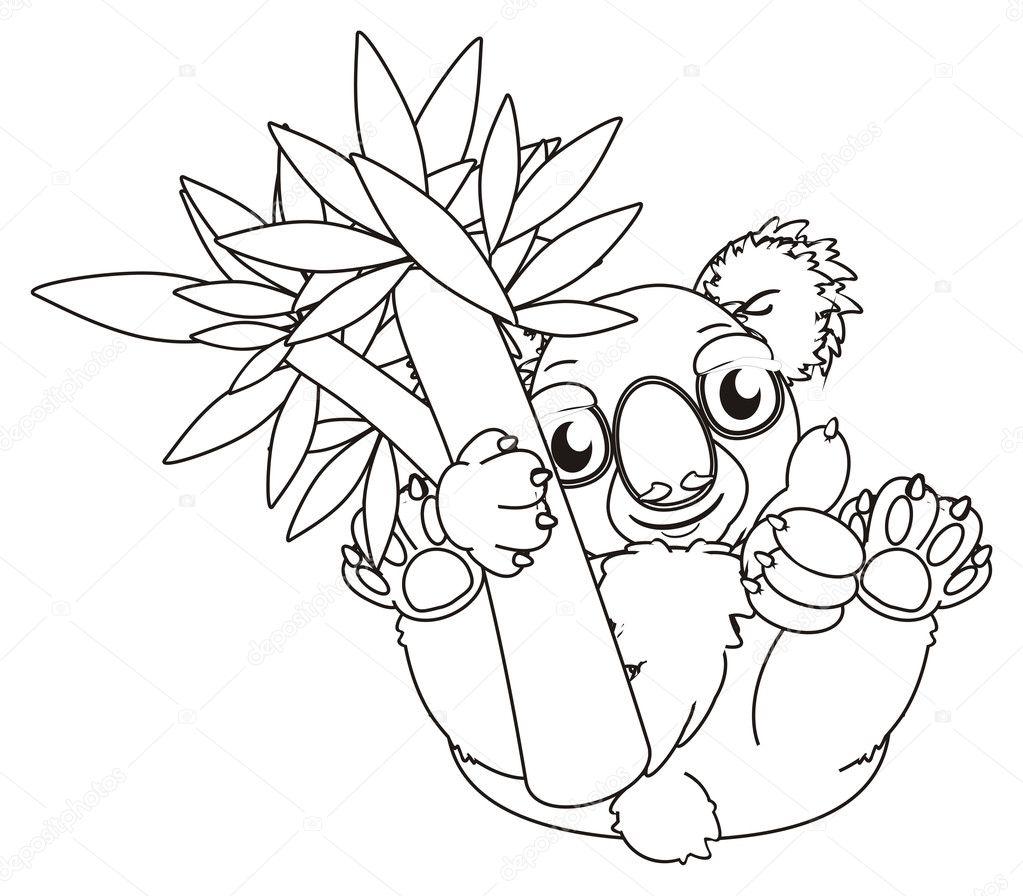 Disegni Da Colorare Koala Con Albero