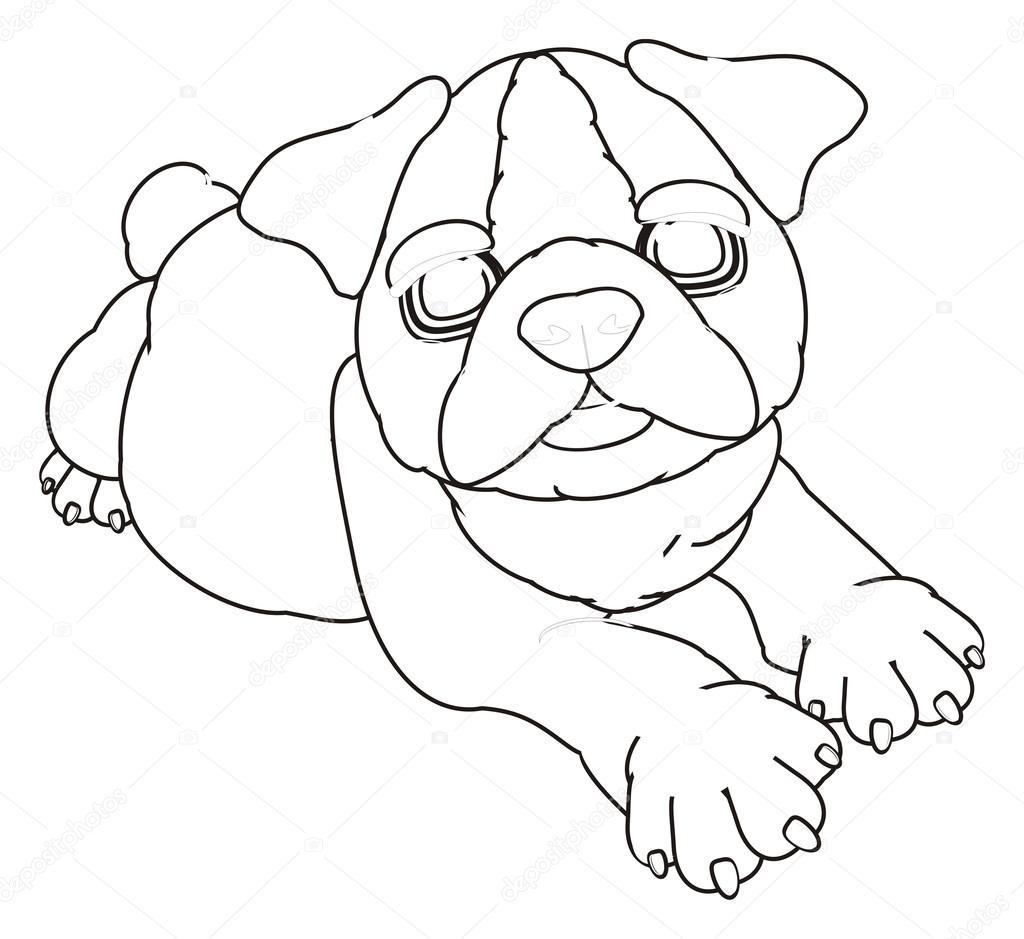 niedlichen Welpen Bulldogge Färbung — Stockfoto © tatty77tatty ...