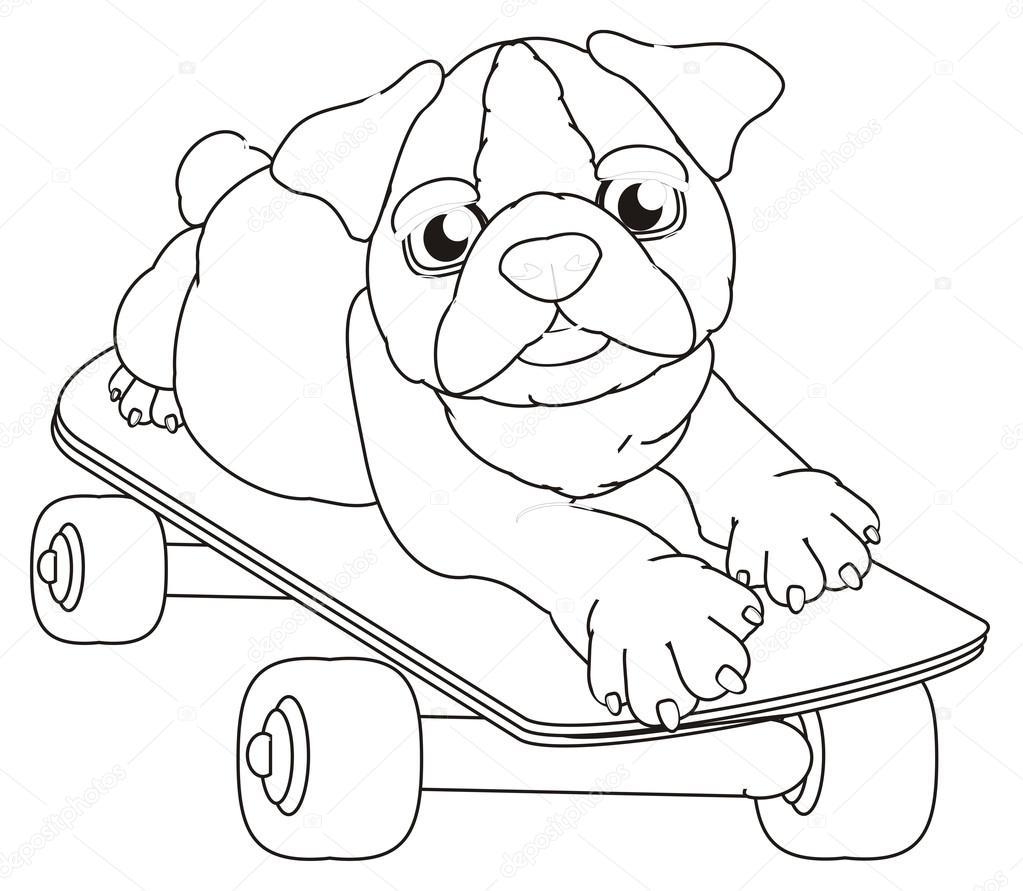 Kleurplaten Van Schattige Puppy Van Bulldog Stockfoto