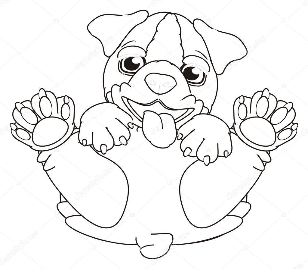 Disegni Da Colorare Cucciolo Di Bulldog Foto Stock Tatty77tatty