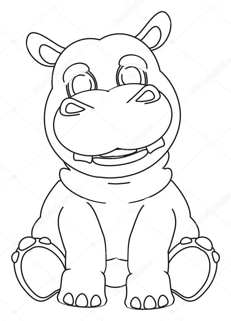 nilpferd sitzend malvorlage  coloring and malvorlagan