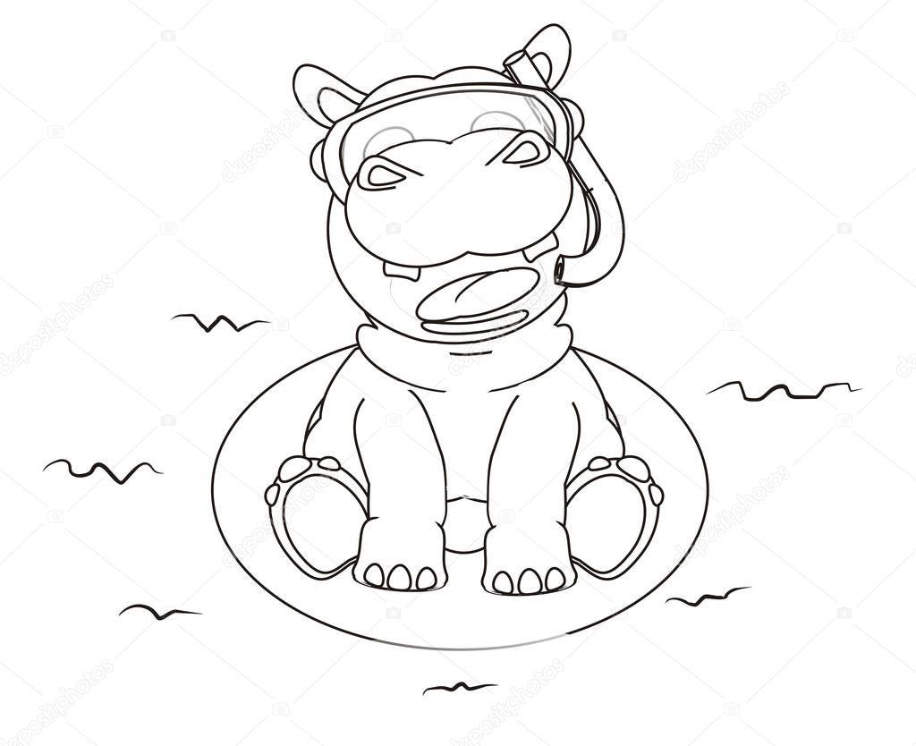 Malvorlagen happy hippo — Stockfoto © tatty77tatty #128969864