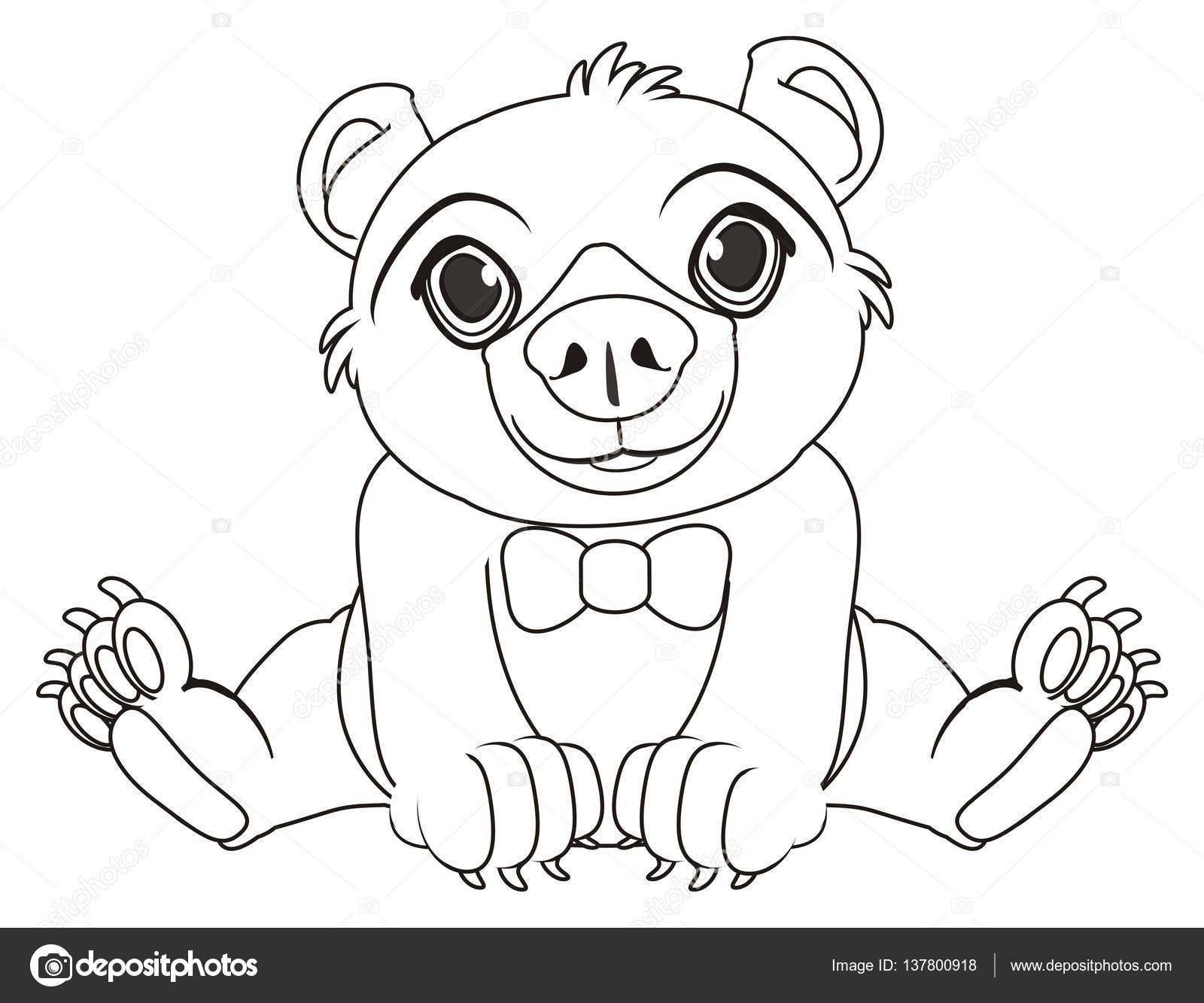para colorear de oso con arco pequeño — Foto de stock © tatty77tatty ...