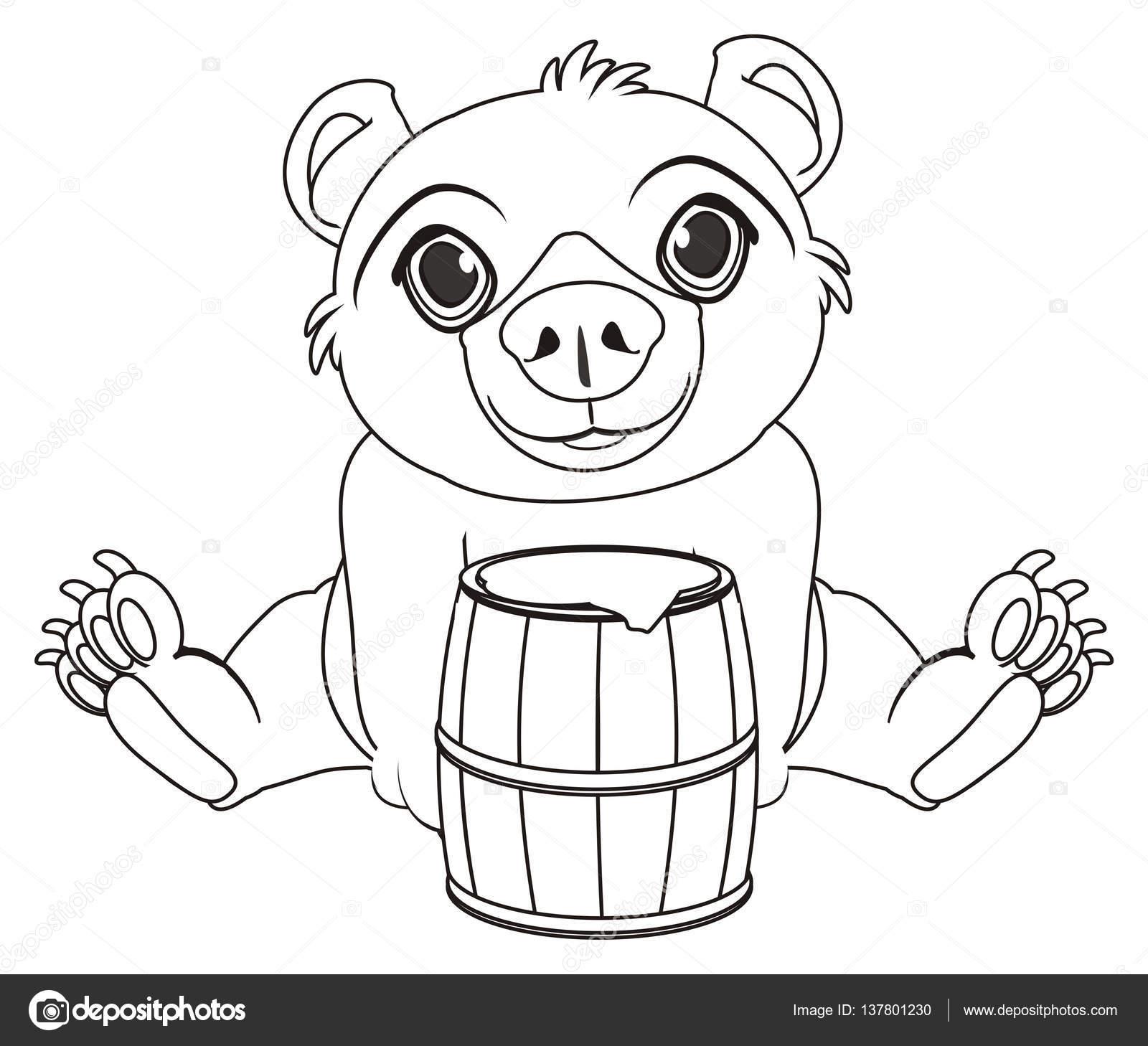 Malvorlagen Bär mit Faß Honig — Stockfoto © tatty77tatty #137801230