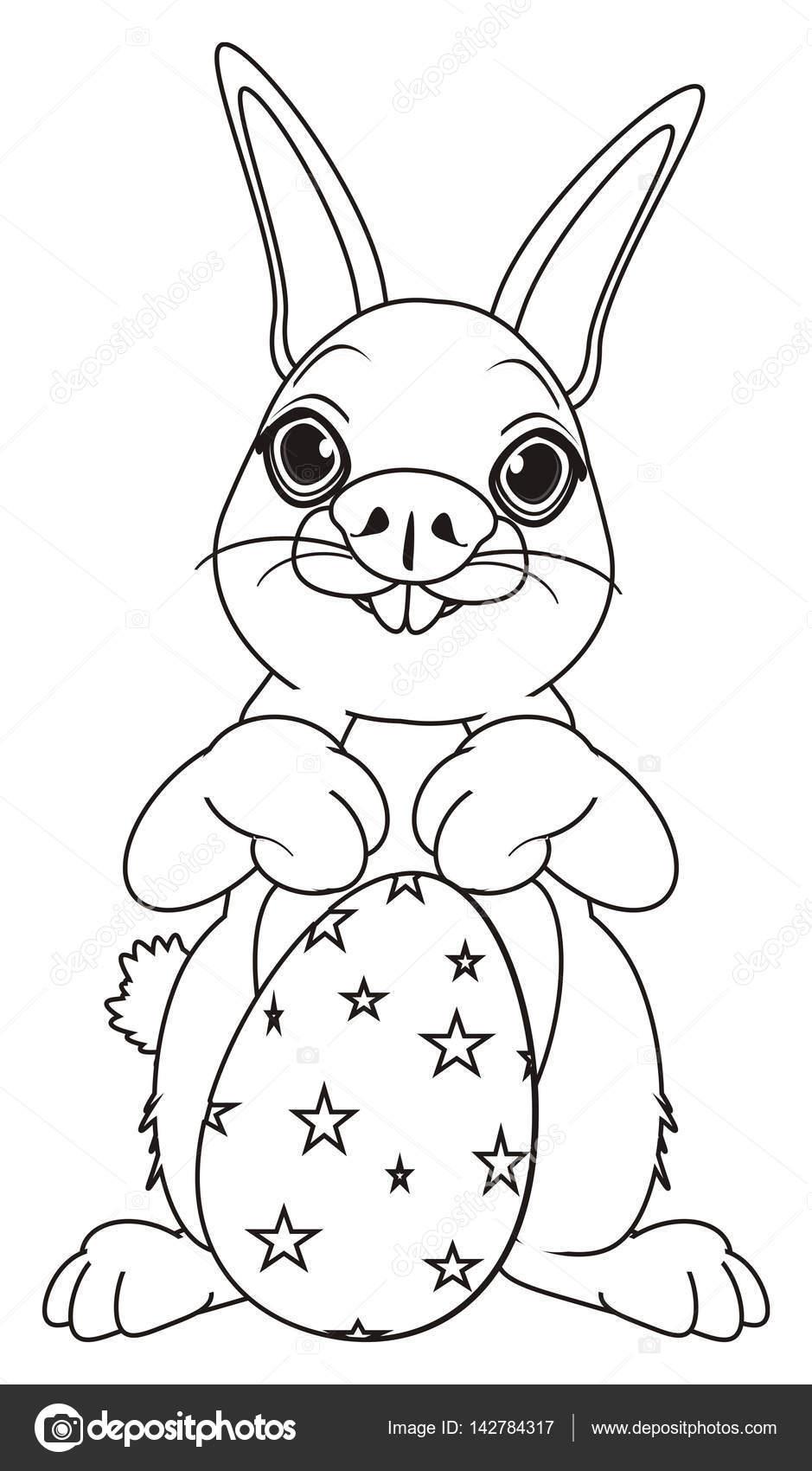 kleurplaten pasen konijn met grote ei stockfoto