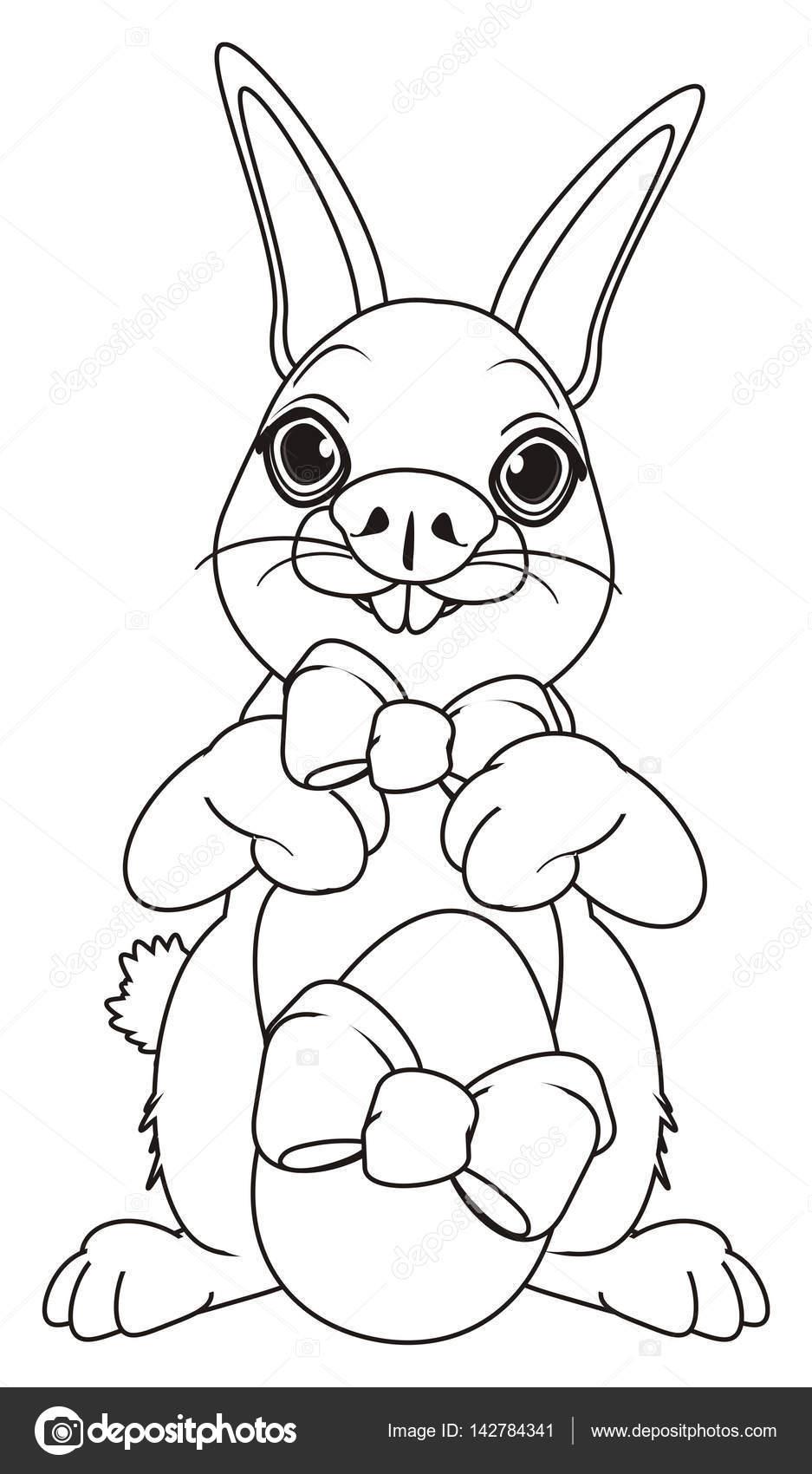 Disegni Da Colorare Coniglio Sveglio Di Pasqua Foto Stock