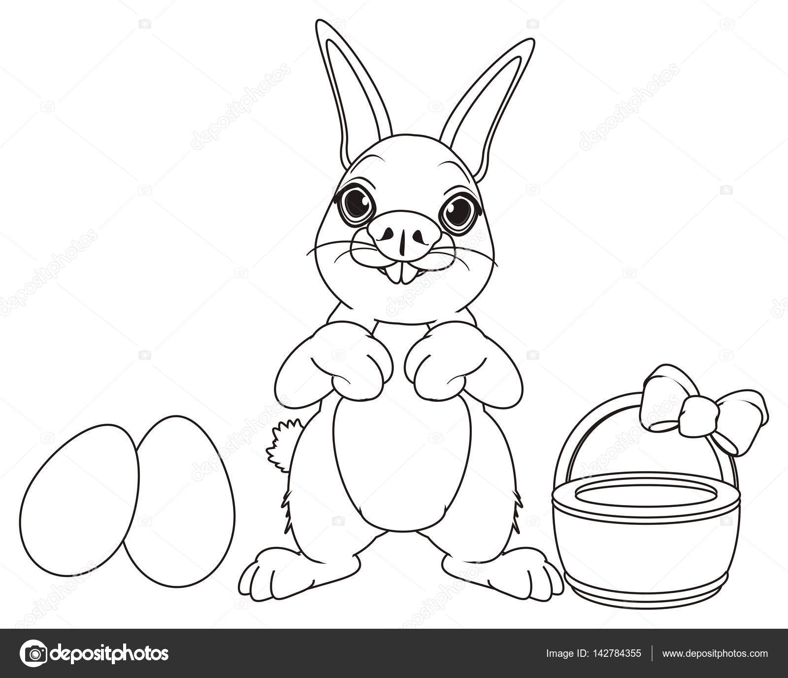 Coniglio Di Pasqua Da Colorare Con Gli Oggetti Di Pasqua Foto
