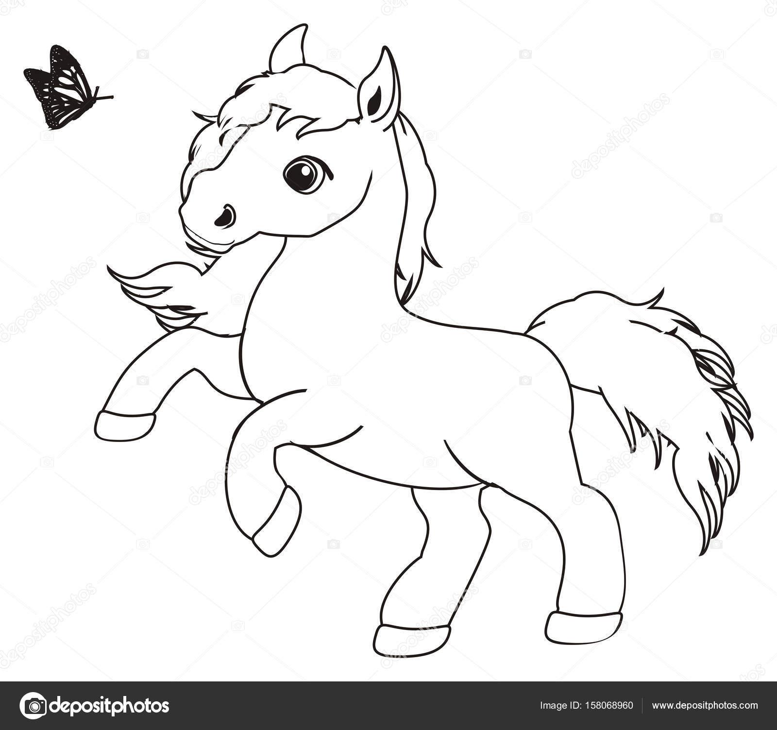 kleine schattige paard kleurplaat stockfoto