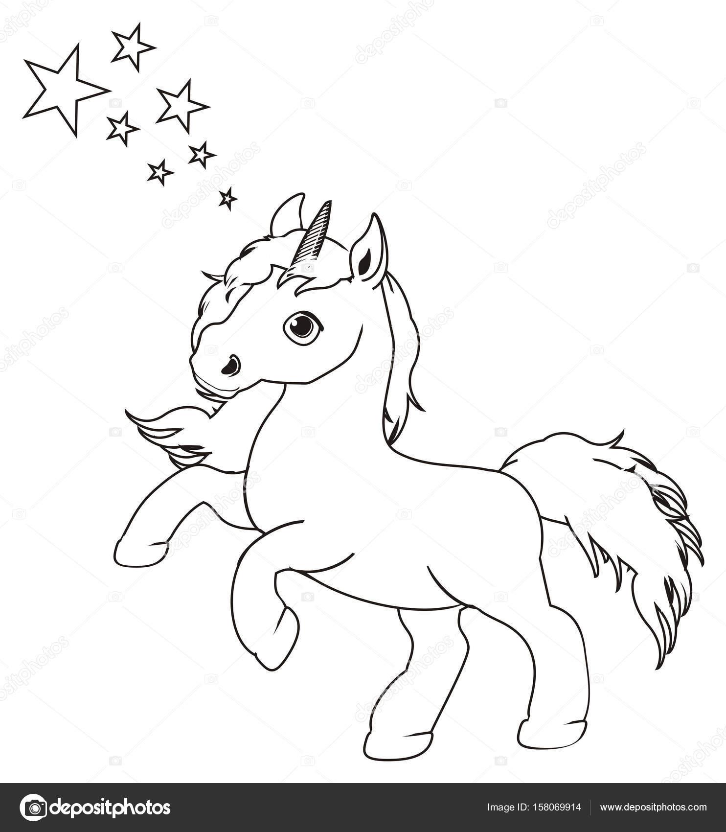 Disegni Da Colorare Piccolo Unicorno Carino Foto Stock