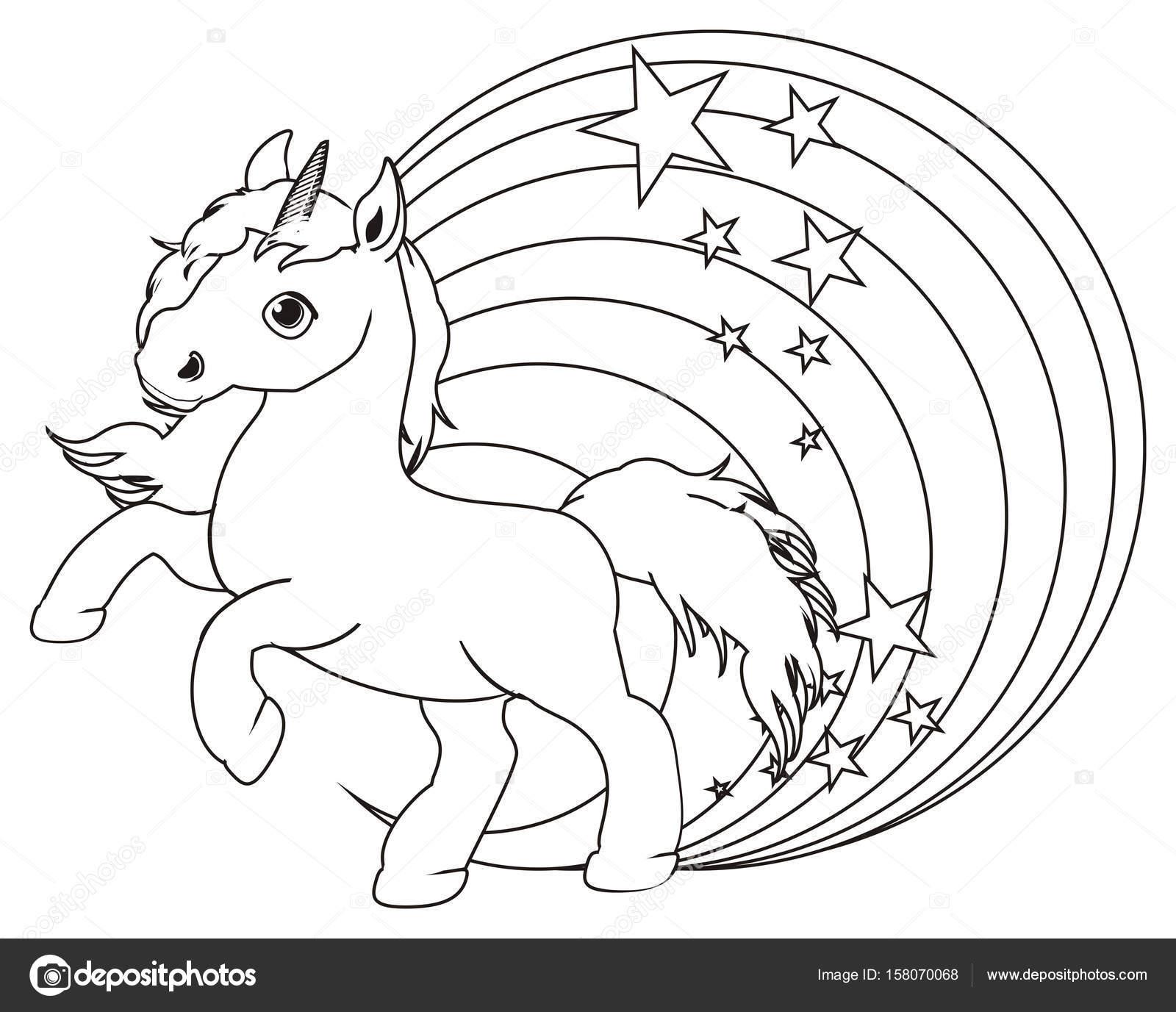 Fotografie Unicorno Su Arcobaleno Da Colorare Disegni Da Colorare
