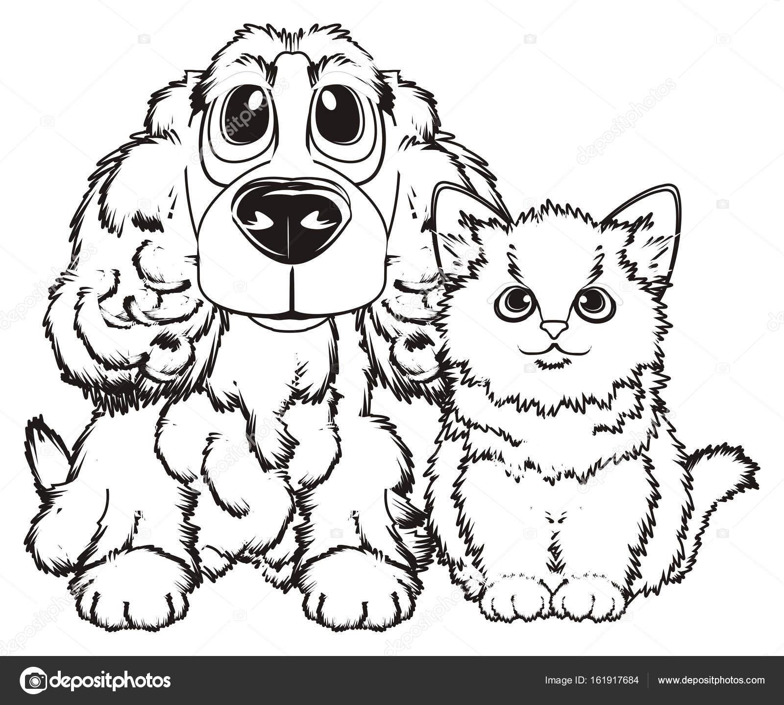 Kleurplaten Van Honden En Katten.Twee Huisdieren Kleurplaten Stockfoto C Tatty77tatty 161917684