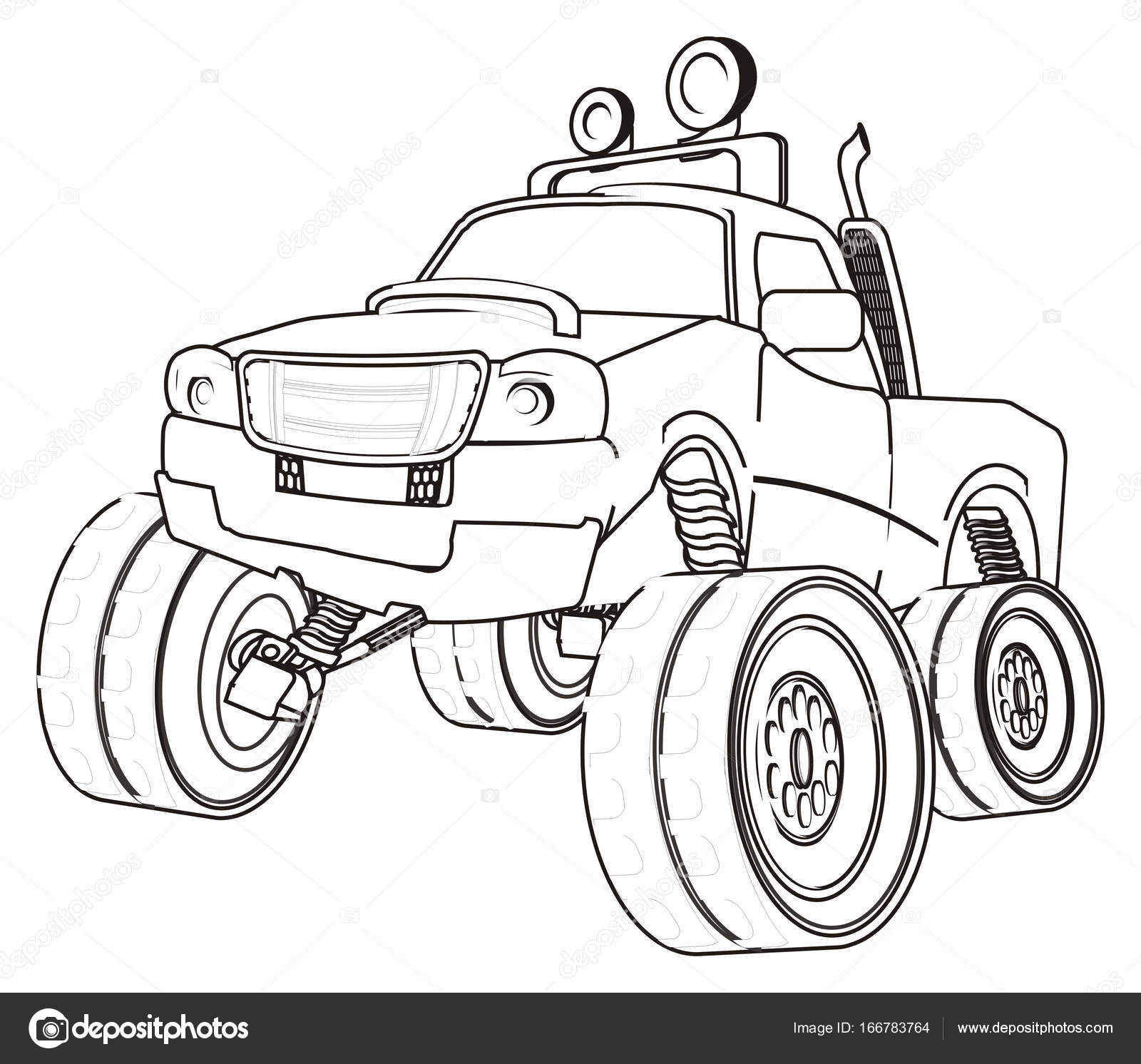 Disegni da colorare auto bigfoot foto stock - Pagina da colorare di monster truck ...