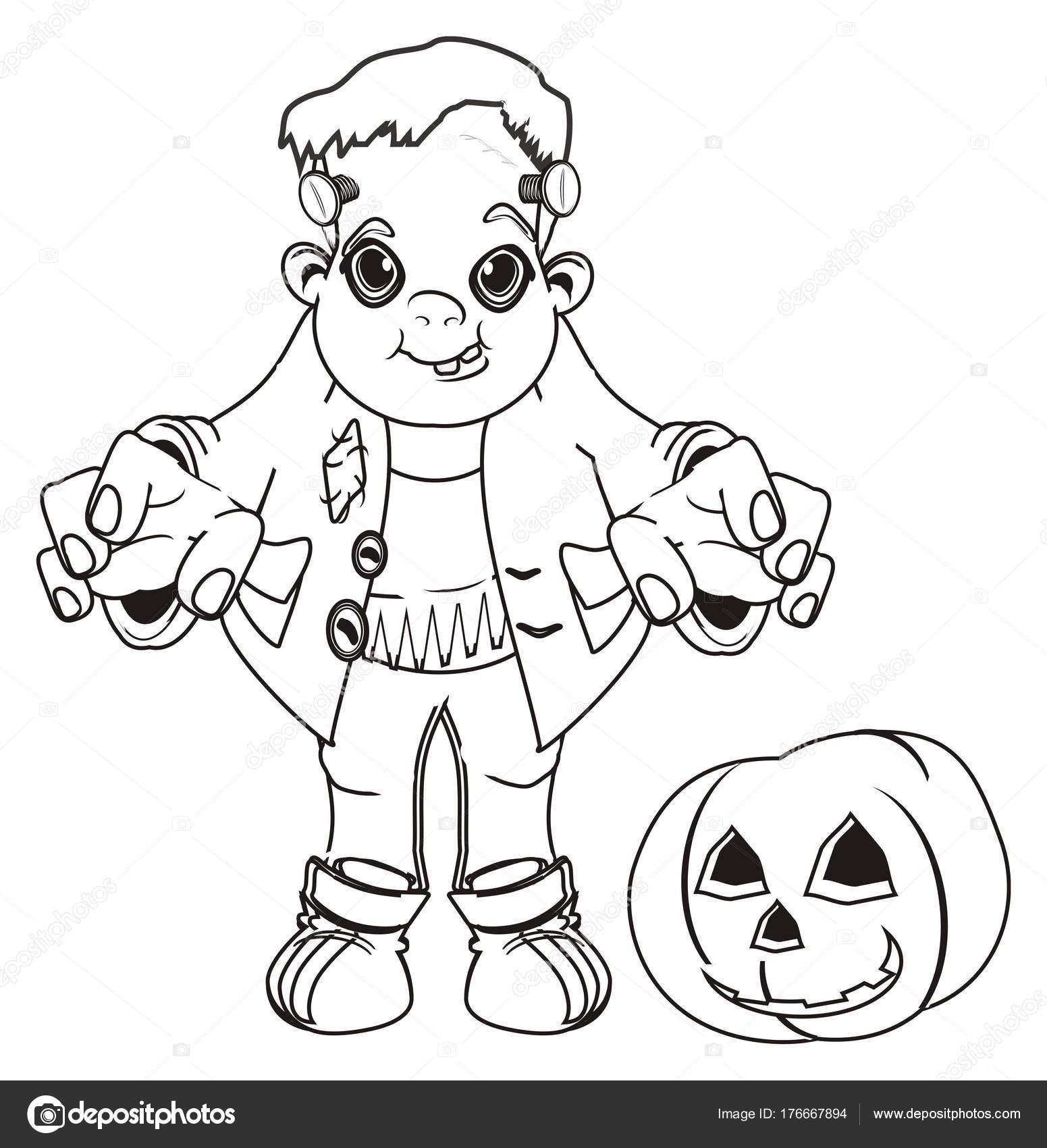 Colorear Soporte Frankenstein Con Calabaza — Foto de stock ...