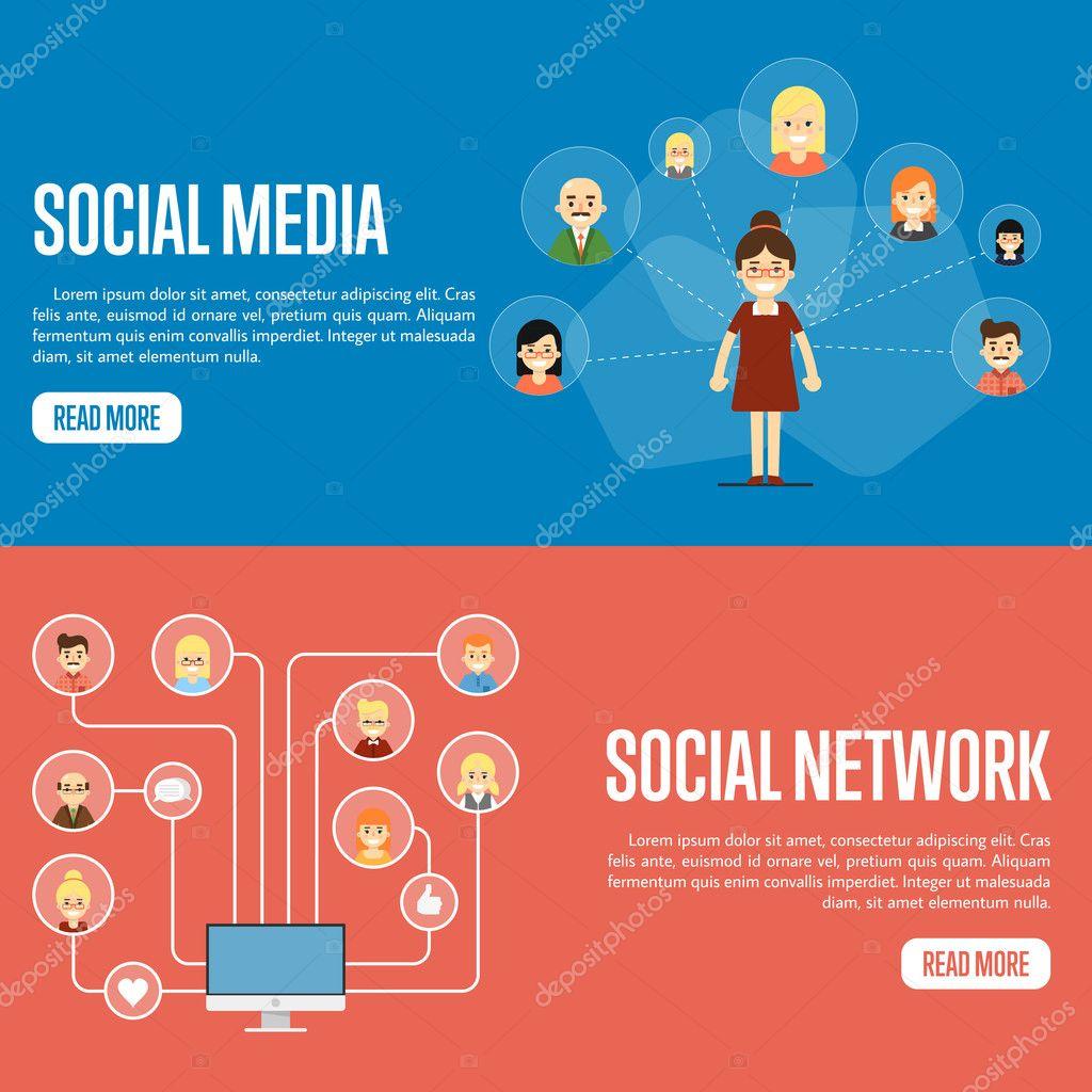 social media network website templates stock vector