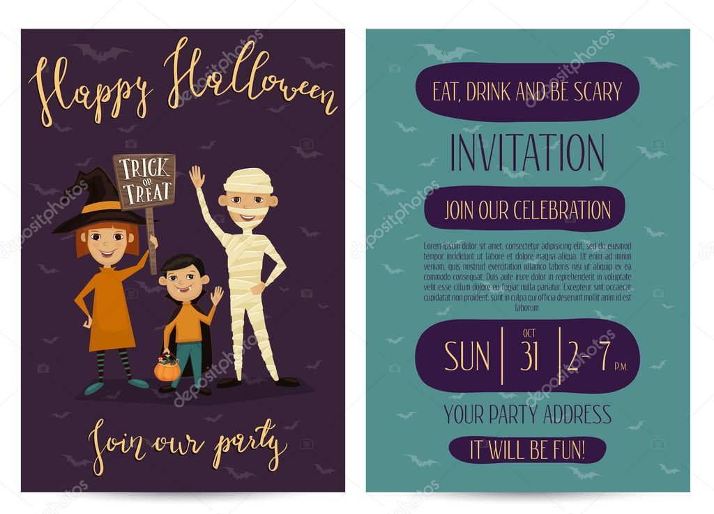 Halloween party invitation design with kids — Stock Vector ...
