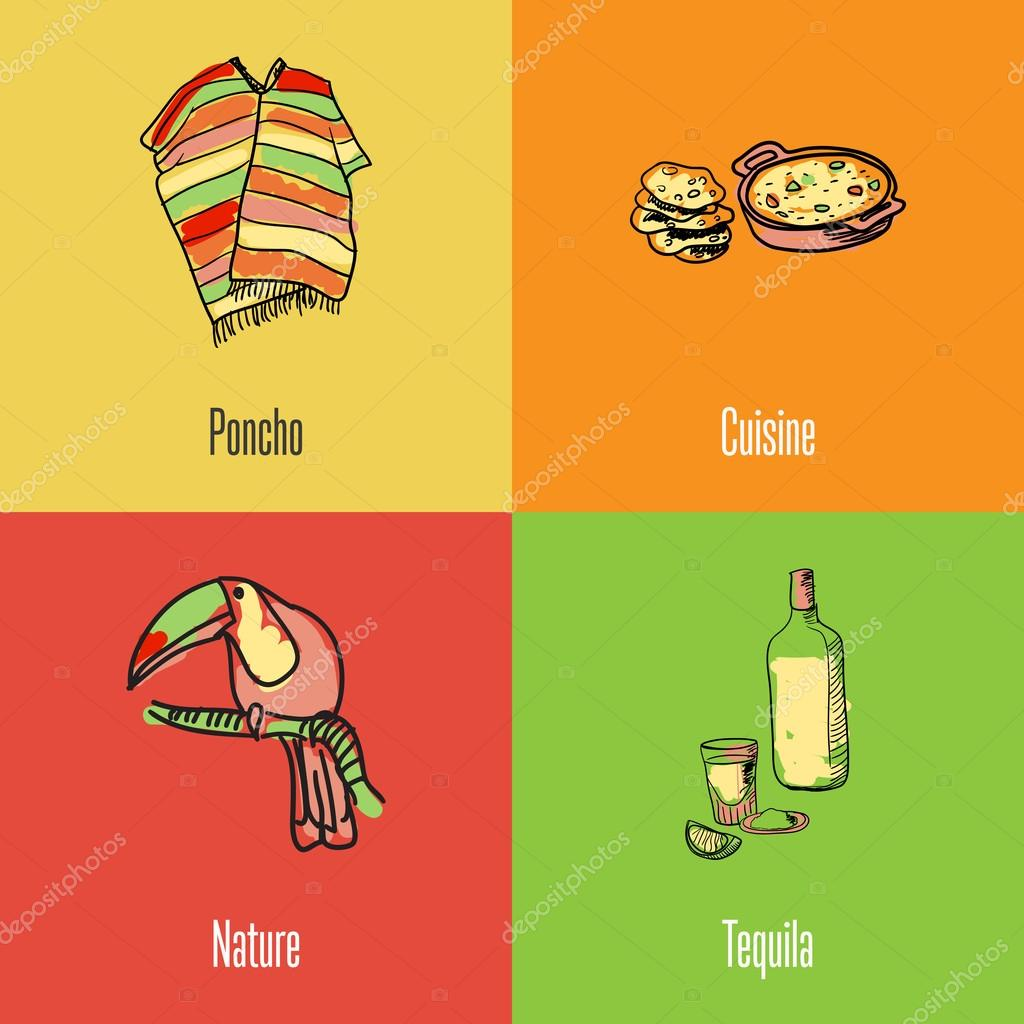 Mexican National Symbols Vector Icons Set Stock Vector