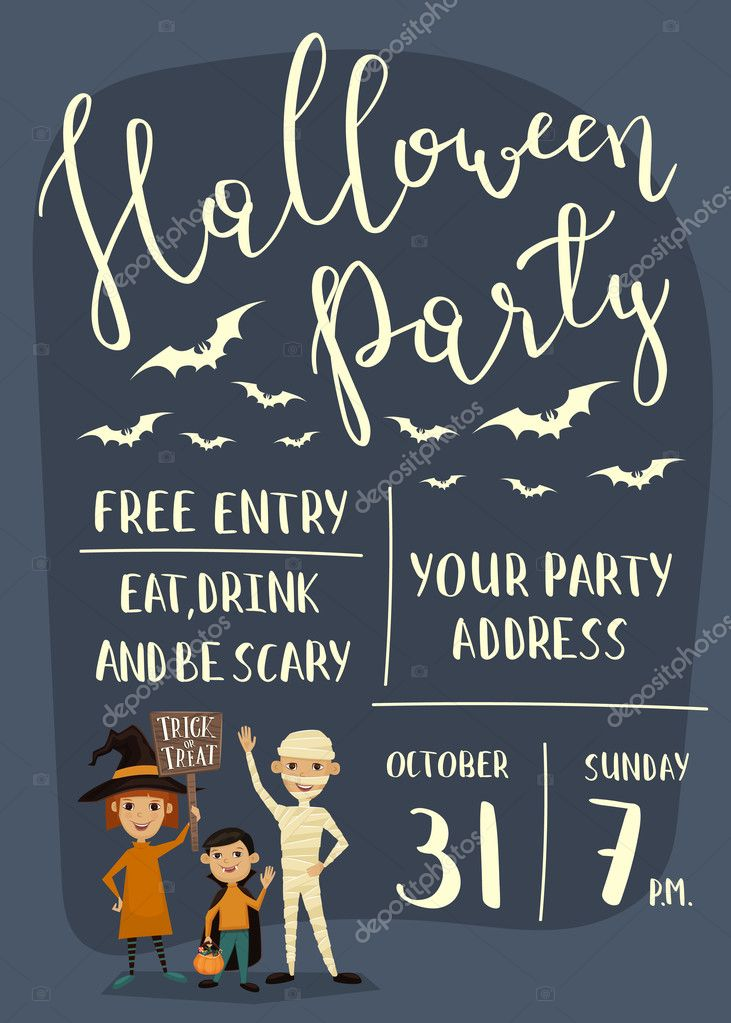 halloween party banner design with kids ストックベクター