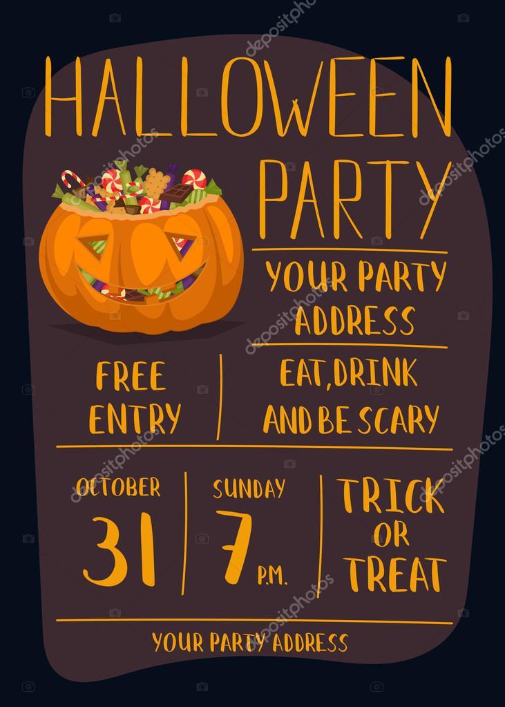 Halloween Feest.Halloween Party Invitation With Scary Pumpkin Stock Vector