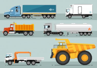 Collection of Trucks Flat Style Illustrations