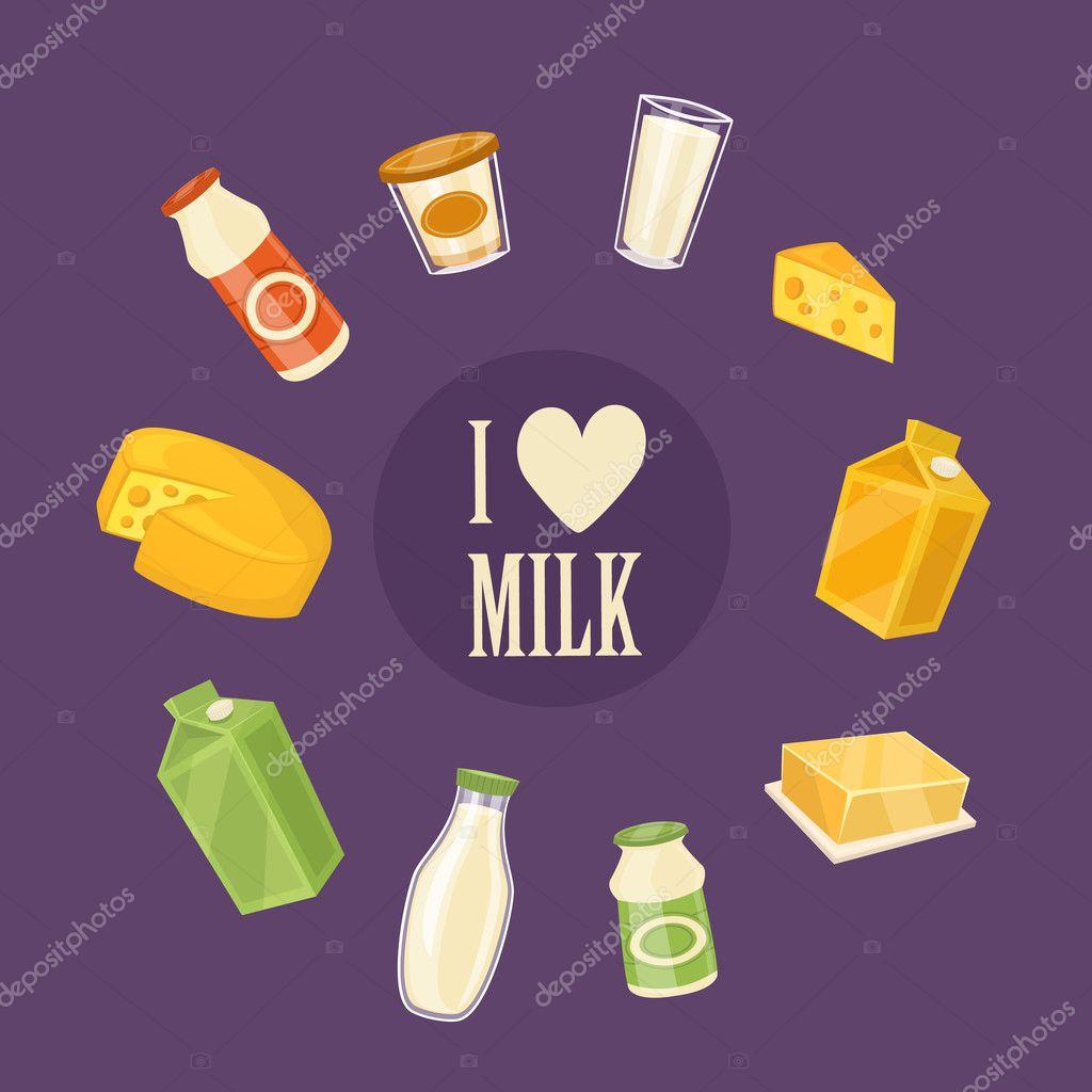 Me encanta el banner de la leche con productos lácteos — Archivo Imágenes  Vectoriales 849072cec32