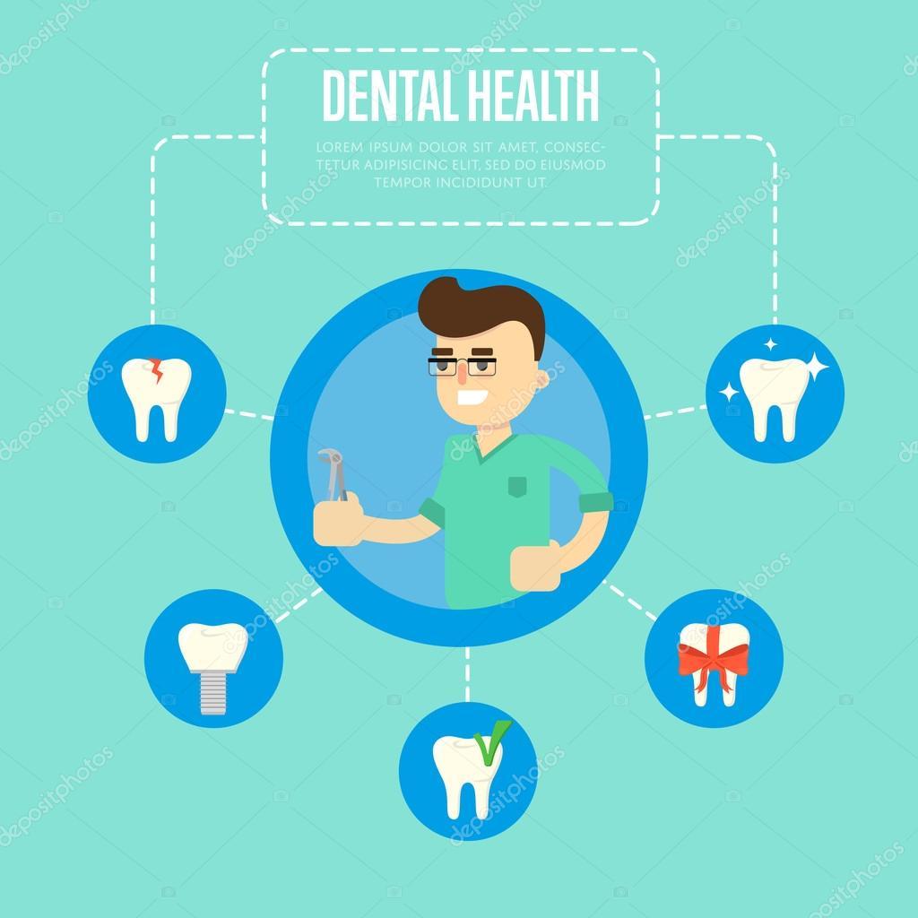 cc4565797 Sorrir dentista masculina em verde uniforme médico segurando alicate dental  sobre fundo azul. Ilustração vetorial de saúde dentária com ícones redondos  de ...