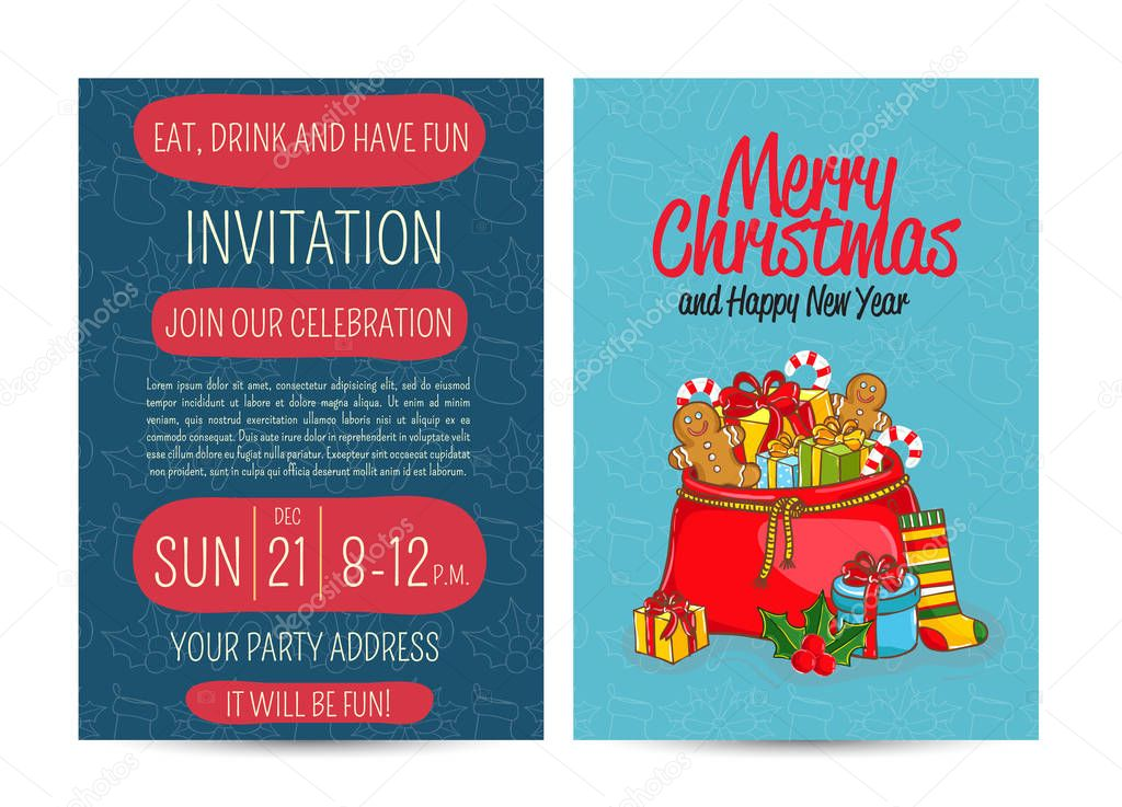 cartoon einladung auf lustige weihnachtsfeier — stockvektor #129017174, Einladung