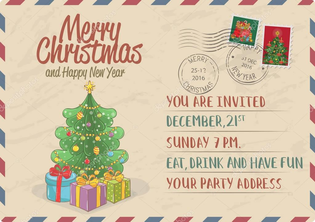Vintage Christmas Invitation with Postage Stamps — Stock Vector ...
