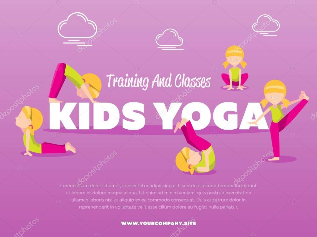 Training And Classes Kids Yoga Banner Stock Vector