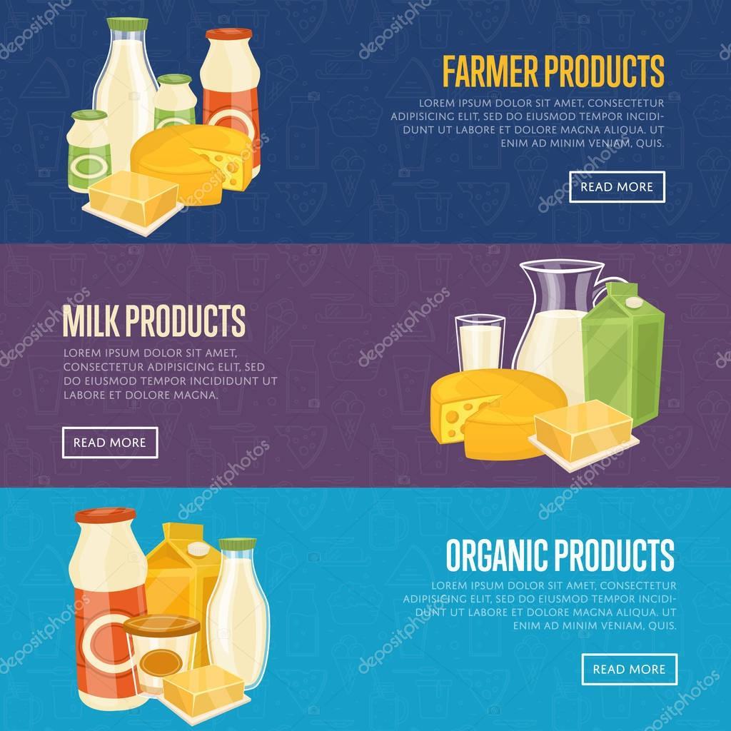 Landwirt, Milch und Bio-Produkte-Vorlagen — Stockvektor ...