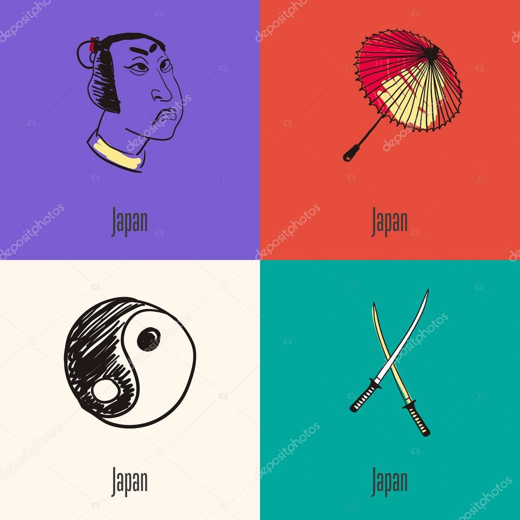 Japanese national symbols vector icons set stock vector japanese national symbols vector icons set stock vector biocorpaavc Image collections